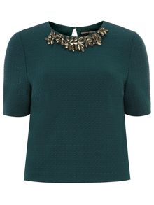 Embellished Texture T-Shirt