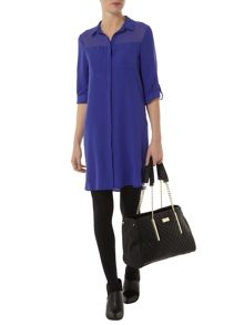 Sheer Yoke Shirt Dress