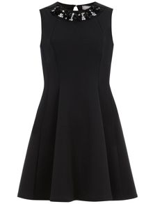 Petite Neoprene Fit And Flare Dress