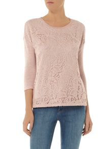 Lace Front Jersey Knit Top