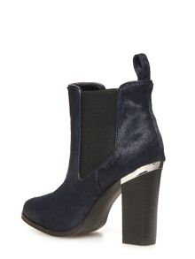 Leather Pony Hair Ankle Boots