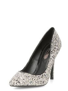 Glitter pointed court shoes