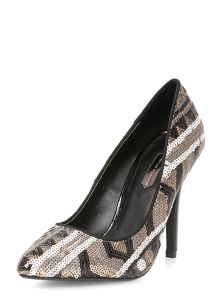 Sequin pointed court shoes