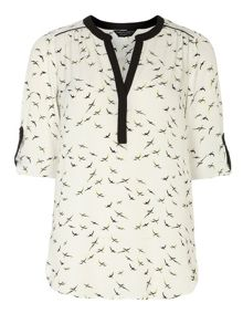 Bird Print Rollsleeve Top