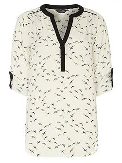 Tall Contrast Bird Rollsleeve Shirt