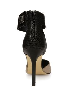 2-Part Pointed Leather Look Court Shoes