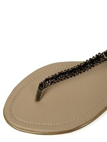 T-Bar Embellished Flat Sandals