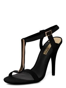 Suedette Metal Bar Sandals