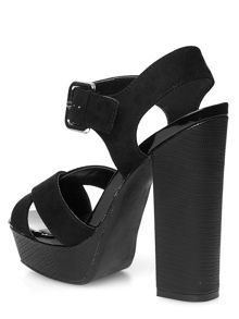 Block Heel Croc Effect Square Sandals