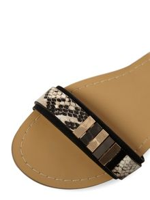 Flat Sandals With Snake-Effect Strap And Hardware