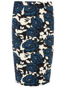 Floral Crepe Pencil Skirt