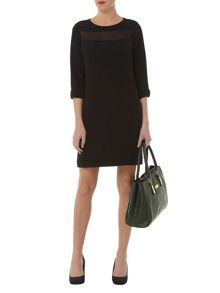 Sheer Yoke Shift Dress