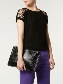Croc Effect Portfolio Clutch Bag