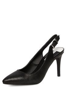 Slingback Lizard Print Pointed Courts