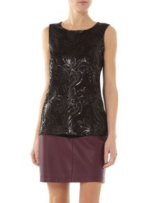 Sequin Front Shell Top With Jersey Back