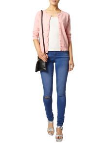 Cotton Cardigan With 3/4 Length Sleeves