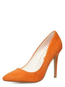 High Pointed Suedette Court Shoes