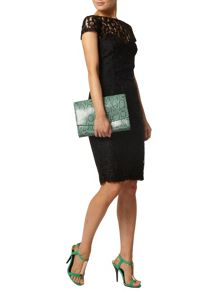 Lace Pencil Dress With Zip Back
