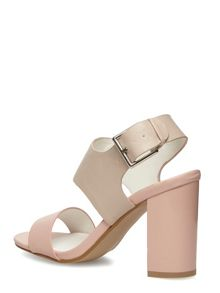 Leather Look Block Heel Sandals