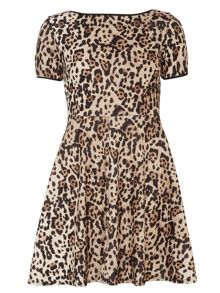 Animal PU Trim Dress