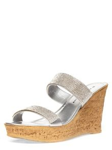 Bling Diamantes Strap Cork Wedge Sandals