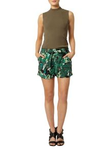 Leaf Print Shorts With Tie Waist