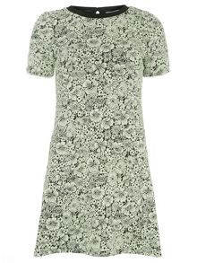 Petite Floral Jacquard Shift Dress
