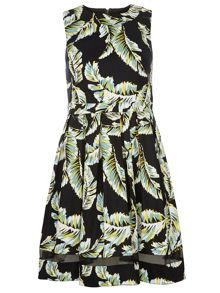 Leaf Print Sateen Fit And Flare Dress
