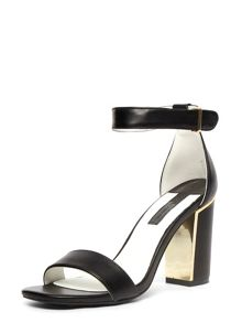 Metal Block Heel Sandals