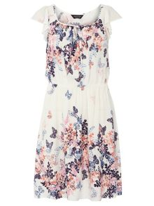 Ivory And Pink Butterfly Dress