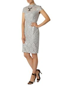 Lace Sequin Pencil Dress