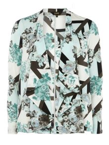 Luxe Stripe Floral Waterfall Jacket