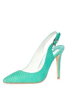 Lizard Finish Slingback Courts