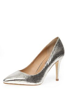 Lizard Effect Pointed Court Shoe