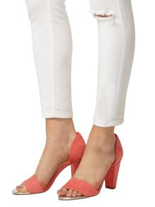 Peep Toe Block Heel Court Shoes