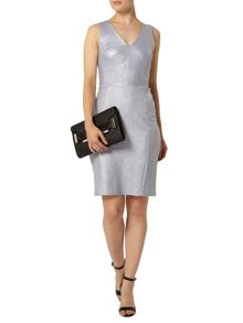 V Neck Shimmer Pencil Dress