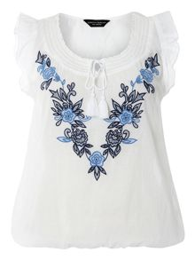 Embroidered Tassle Gypsy Top
