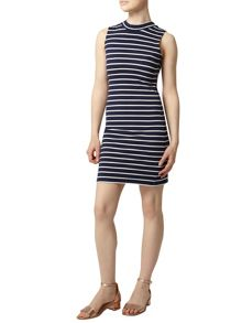 Petite Stripe High Neck Dress