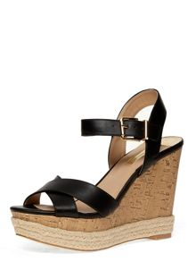 Cross Strap Cork Espadrille Wedges