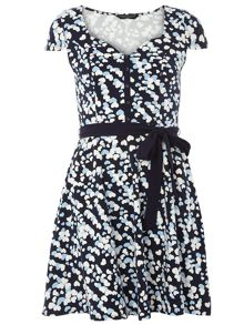 Heart print placket dress