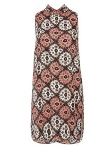 Printed Roll Neck Shift Dress
