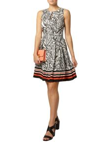 Paisley Stripe Hem Dress