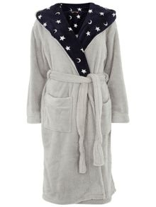 Cosy Robe With Moon And Star Print