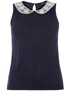 Lace Collar Shell Top