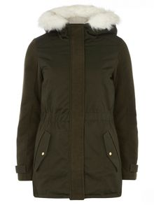 Contrast sleeve parka with elasticated waist hem