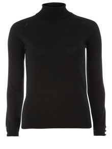 Button Detail Roll Neck Jumper