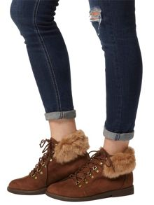 Lace-Up Ankle Boots With Knitted Trim