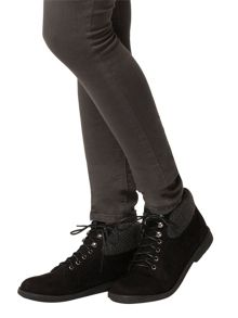 Dorothy Perkins Lace-Up Ankle Boots With Knitted Trim