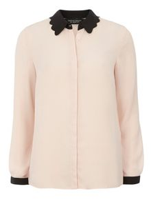 Contrast Scallop Shirt