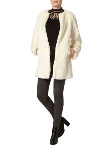 Dorothy Perkins Collarless Faux Fur Coat